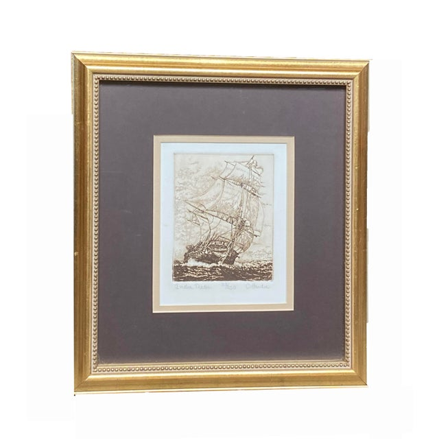 Late 19th Century 'India Trader' Nautical Etching After Charles Martin Hardie, Framed For Sale - Image 9 of 9