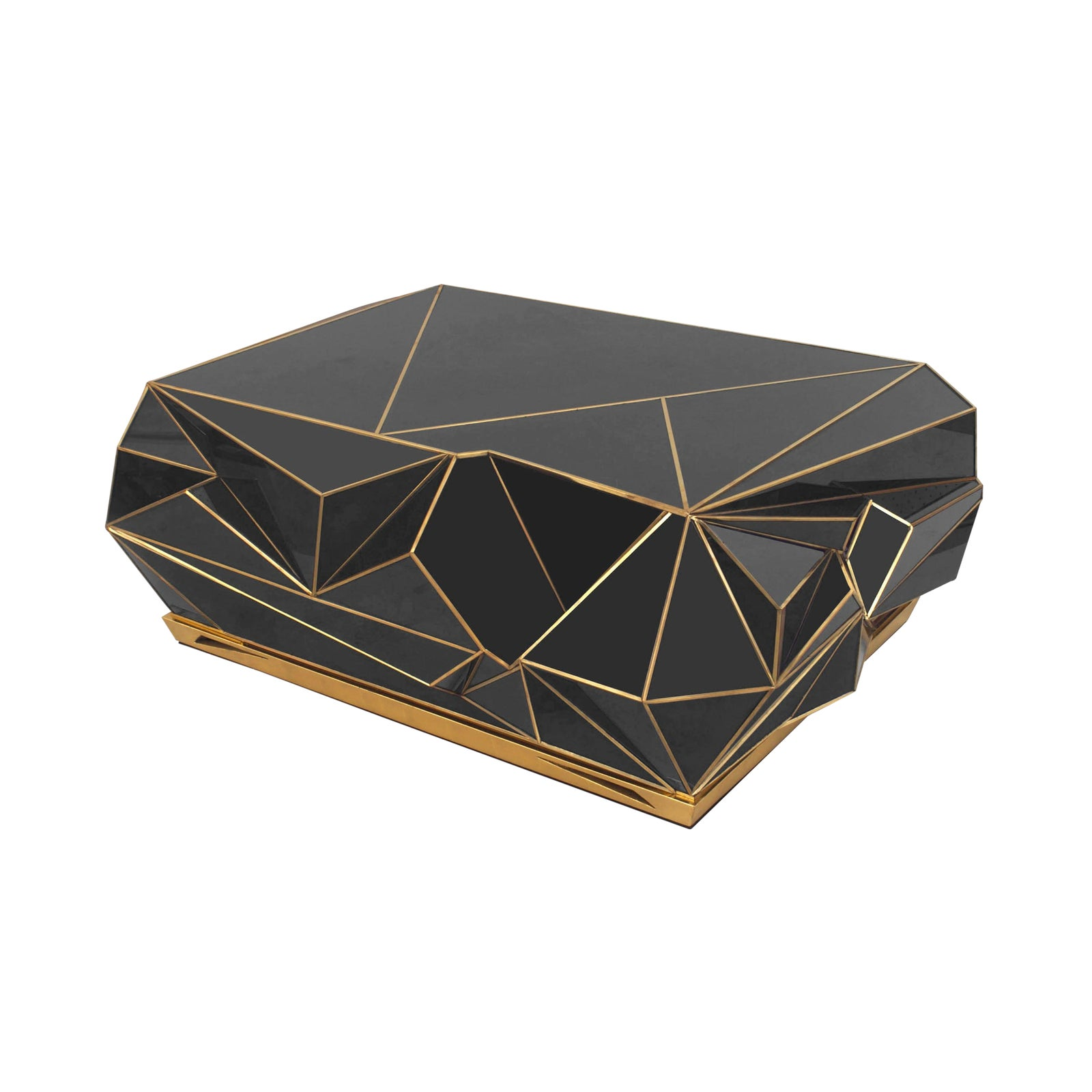Luxury Contemporary Brass Trimmed Glass Geometric Coffee Table