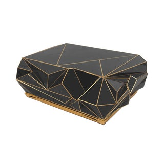 Contemporary Brass-Trimmed Glass Geometric Coffee Table For Sale