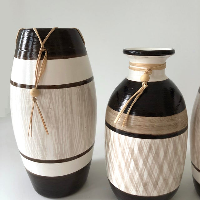 Group of Brazilian Vases With Raffia and Bone Bead Detail For Sale - Image 4 of 12