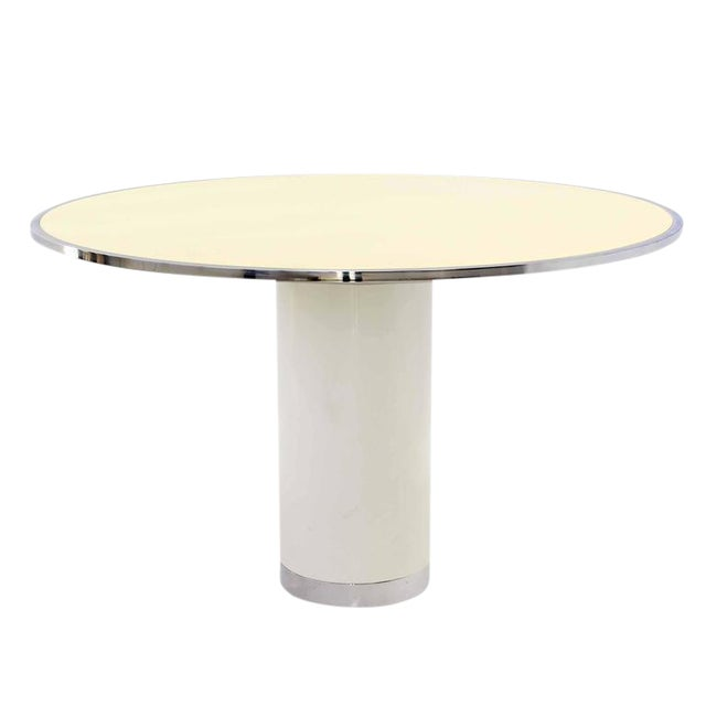 Mid-Century Modern Heavy Enameled Metal Base and Top Round Gueridon Dining Table For Sale - Image 6 of 6