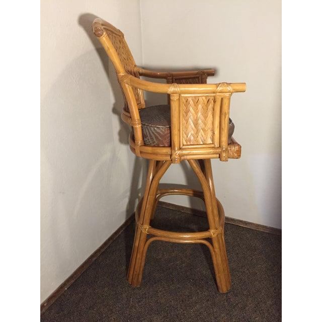 Vintage Whitecraft Rattan Swivel Barstool For Sale - Image 6 of 9