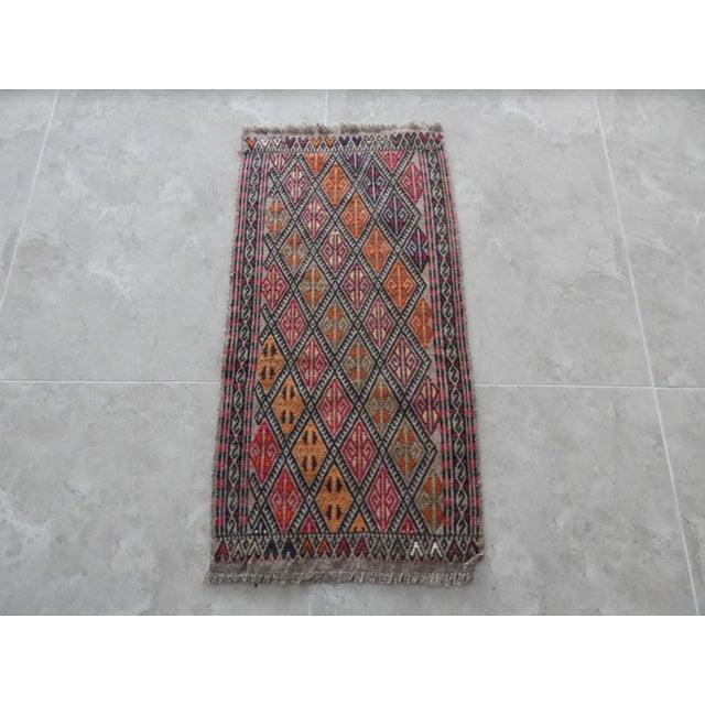 Brick Red Handwoven Turkish Kilim Rug Pastel Colors Area Rug Petite Braided Kilim For Sale - Image 8 of 8