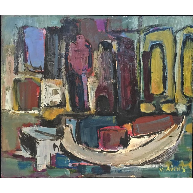 Mid-Century Modern Signed Mid-Century Abstract Oil on Board For Sale - Image 3 of 10