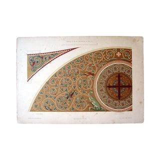 Art Nouveau Ceiling Ornamentation Gold Print For Sale