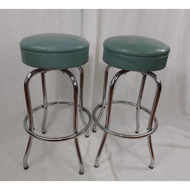1950s Tubular Chrome Swivel Stools - a Pair For Sale - Image 4 of 4