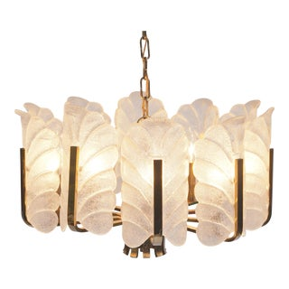Barovier & Toso Murano Glass Acanthus Leaf Chandelier For Sale
