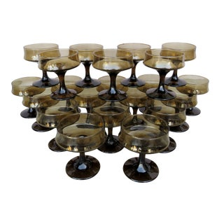 Brown Smoke Champagne Coupes - Set of 21 For Sale