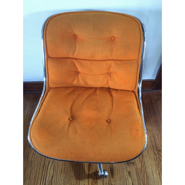 Knoll Charles Pollock for Knoll Orange Wool Office Chair For Sale - Image 4 of 4