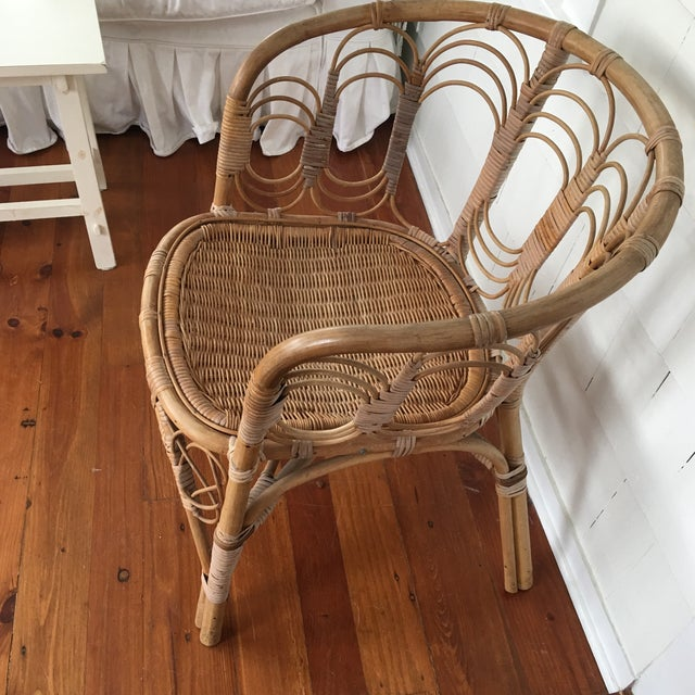 Boho Chic Vintage Rattan Chair For Sale - Image 3 of 10