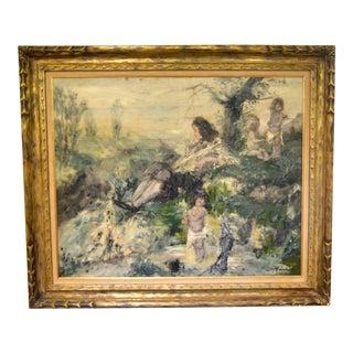 Antique Late 19th Century Original Oil Painting Landscape For Sale