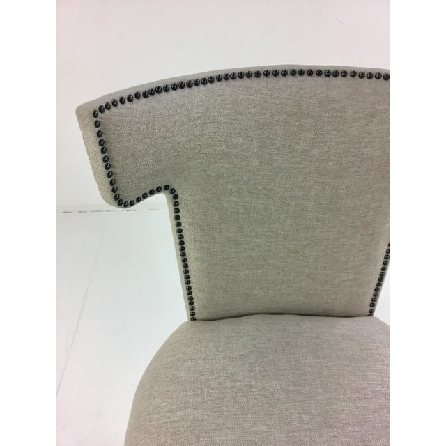Stylish modern Caracole Uptown Klismos Dining/Desk Chair, creamy gray legs with a soft gray seat, antique nickle nailhead...