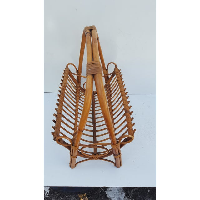 Italian Original Franco Albini Rattan and Bamboo Magazine Rack For Sale In Miami - Image 6 of 10