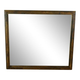 Modern Dark Stain Wood Framed Mirror For Sale