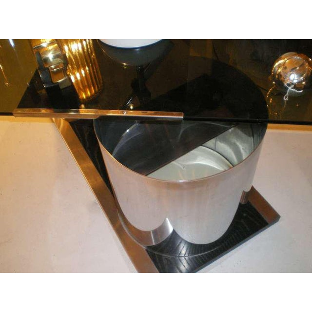 Metal 1970s Italian Smoked Glass Coffee Table With Dry Bar For Sale - Image 7 of 8