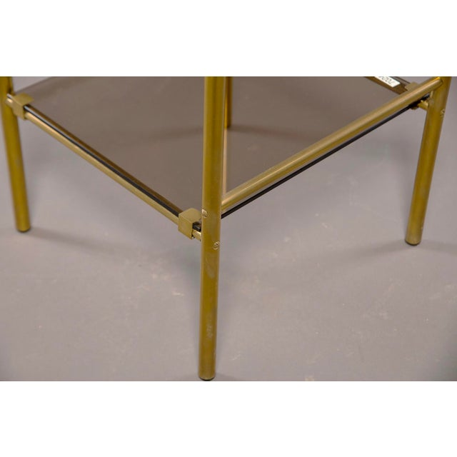 Brass Pair of Mid-Century Brass and Glass Side Tables For Sale - Image 7 of 10