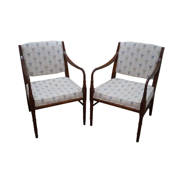 Solid Mahogany Faux Bamboo Arm Chairs - A Pair - Image 1 of 10