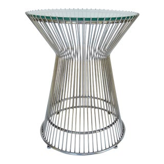 Warren Platner-Style Polished Steel and Glass Round Accent, Side Table For Sale