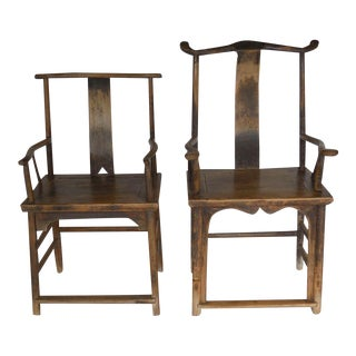18th Century Qing Dynasty Chinese Woman and Man's Chairs For Sale