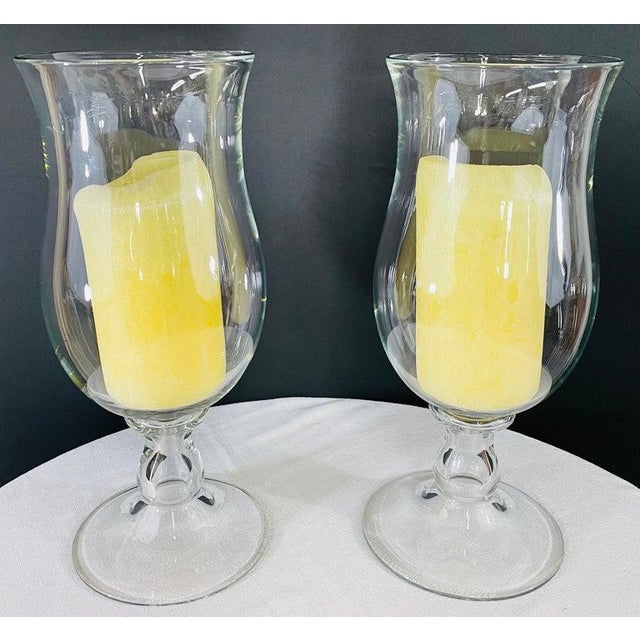 Transparent Modern Clear Glass Candleholder or Vase, a Pair For Sale - Image 8 of 10