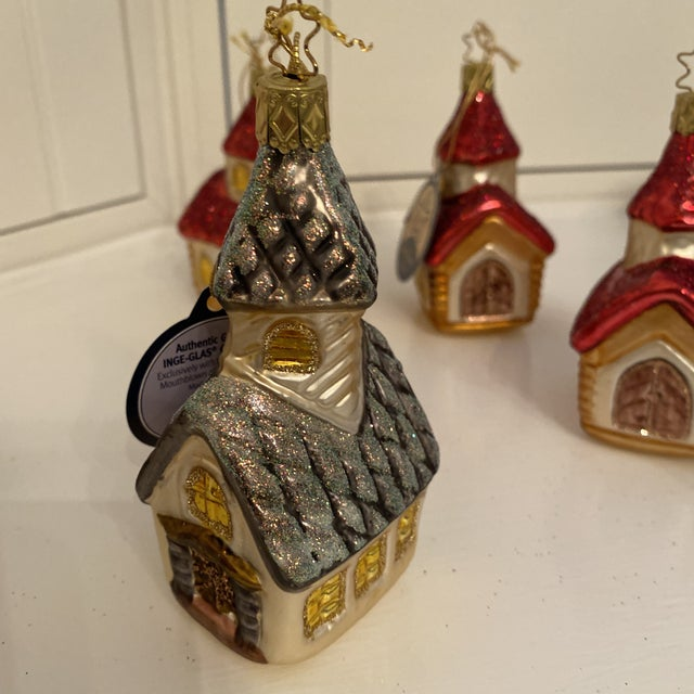 Inge Church and House Collection Glass Ornaments - Set of 6 For Sale In Sacramento - Image 6 of 11
