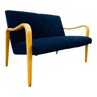 1960s Mid Century Modern Thonet Attributed Blue Velvet Bentwood Framed Loveseat For Sale