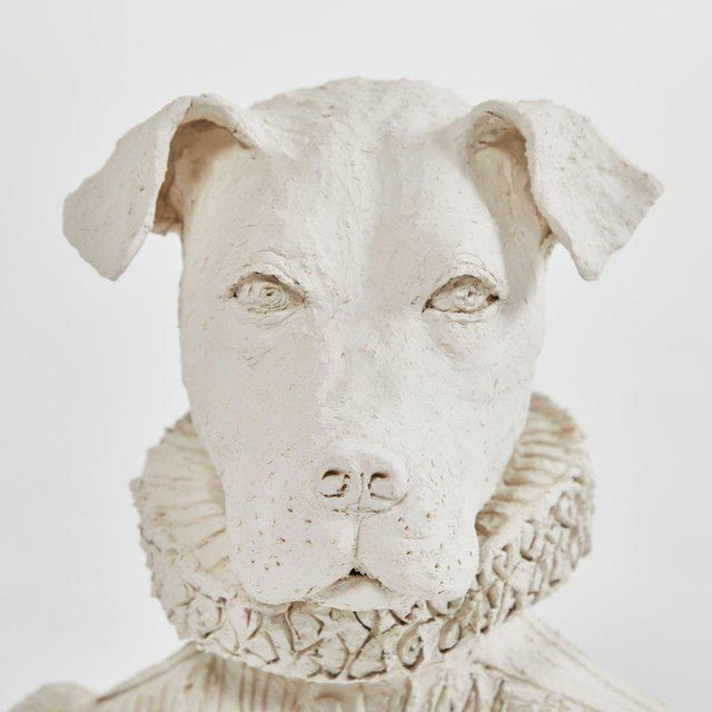 Traditional Dog Sculpture in Plaster For Sale - Image 3 of 5