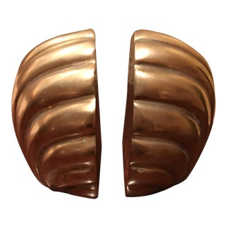 Solid Brass Shell Bookends - a Pair