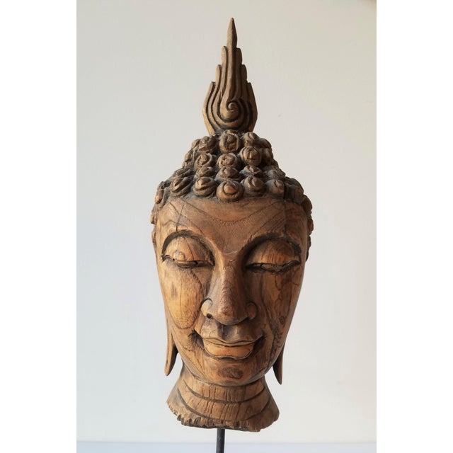 Late 20th Century Vintage Hand Carved Wooden Buddha Head For Sale - Image 5 of 9
