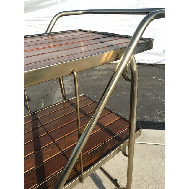 Mid-Century Wood Slat & Metal Rolling Bar Cart - Image 6 of 10