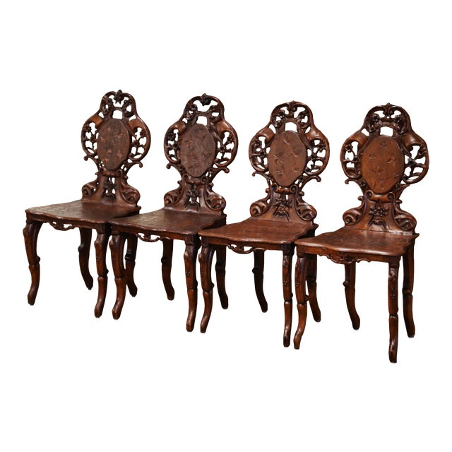 Set of Four 19th Century French Black Forest Carved Walnut Chairs For Sale