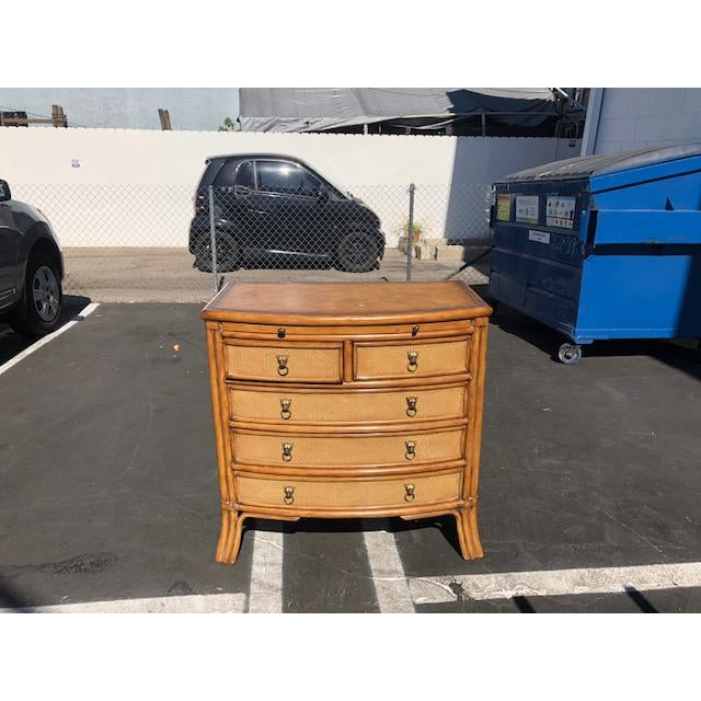 Bamboo Rattan With Leather Embossed Top Chest of Drawers For Sale - Image 10 of 10