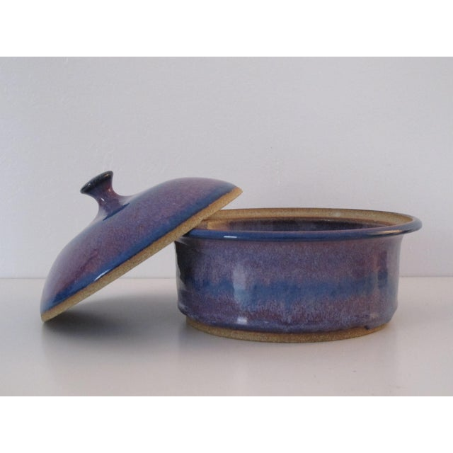 Blue & Purple Pottery Casserole Dish - Image 3 of 6