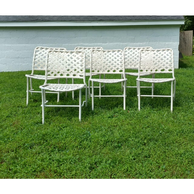 Tropitone 70s Style of Brown and Jordan Cross Strap Patio Chairs - Set of 6 For Sale In New York - Image 6 of 6