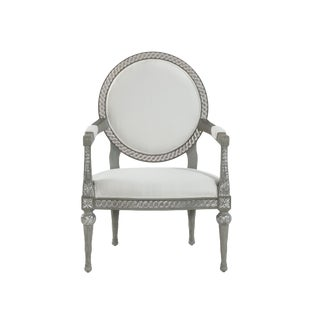 Silver Leaf Hand Carved Exposed Wood Frame Round Back Chair