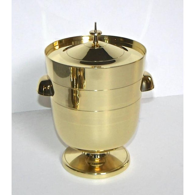 Hollywood Regency 1950s Vintage Tommi Pazinger for Dorlyn Brass Ice/Champagne Bucket For Sale - Image 3 of 11