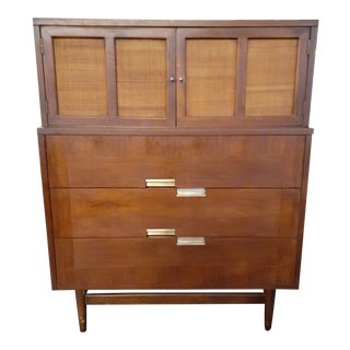 1960s American of Martinsville Walnut Accord Highboy Dresser For Sale