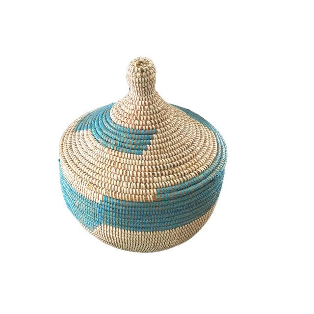 "African Basket W/ Lid Senegal West Africa 14.5"" H For Sale - Image 3 of 6"