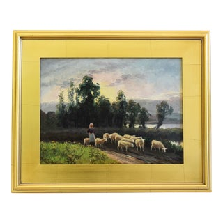 English Shepherdess & Flock of Sheep Antique Oil Painting