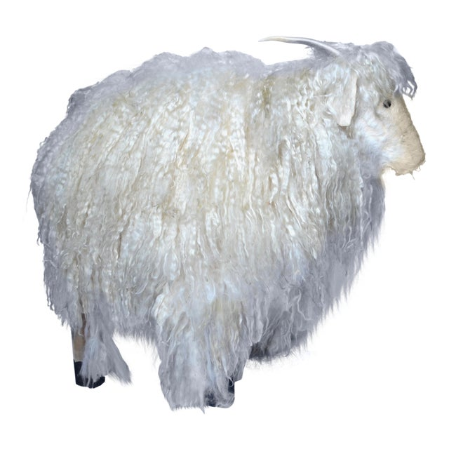 1970s Angora Horned Sheep Ottoman in Claude Lalanne Style For Sale