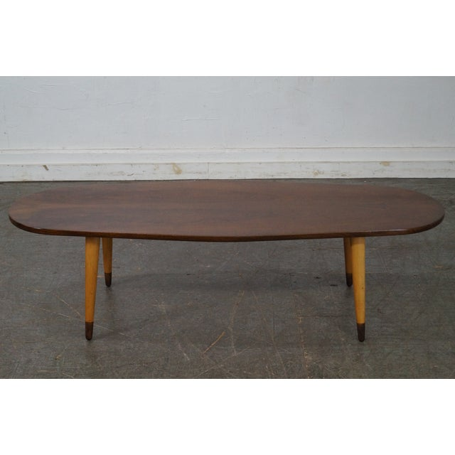Mid Century Swedish Modern Oval Walnut Coffee Table - Image 2 of 10