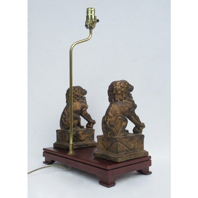 C.1970s-80s Vintage Asian, Chinoiserie-Style, Boho Chic Gilt Foo Dog Lamp For Sale - Image 9 of 13