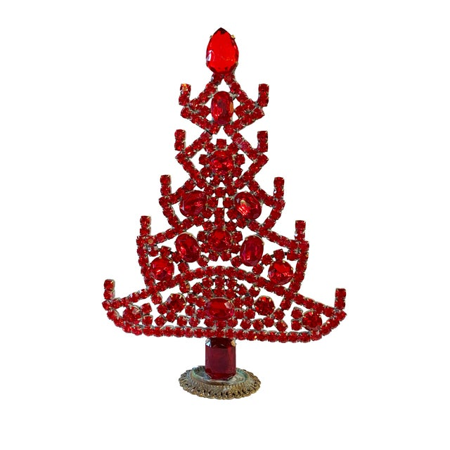 Mid 20th Century Ruby Red Czech Rhinestone Christmas Tree For Sale - Image 5 of 5