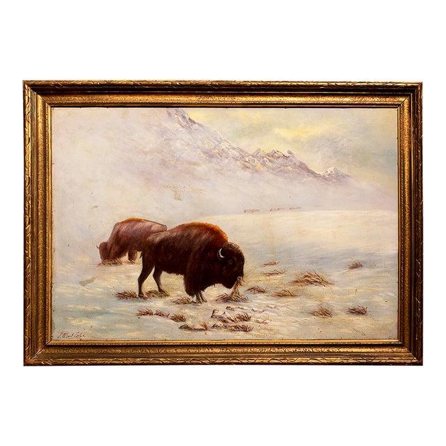 Circa 1935 J. Albert Sylvia American Buffalo Painting - Image 1 of 8