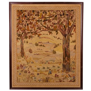 19th C. Framed Crewelwork Embroidery For Sale