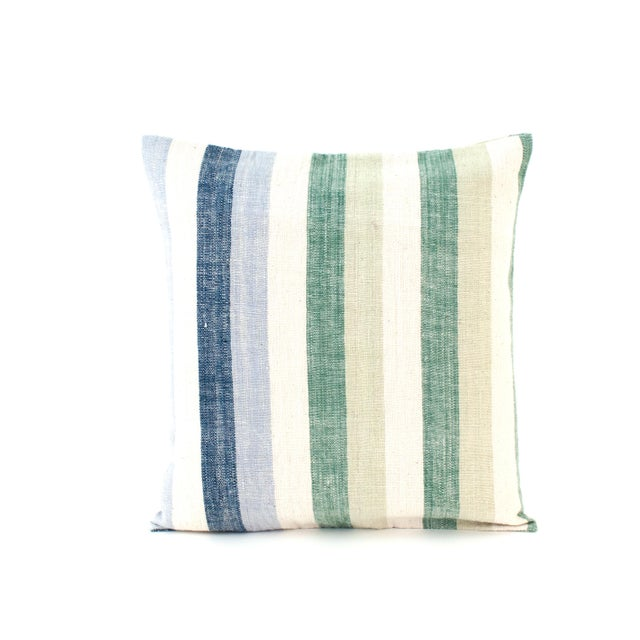Blue & Green Striped Cotton Pillows - A Pair - Image 5 of 6