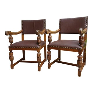 Antique English Carved Oak Arm Desk Chairs - A Pair