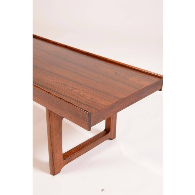 "1950s Torbjorn Afdal for Bruksbo Norway ""Korbo"" Bench in Rosewood For Sale - Image 5 of 6"