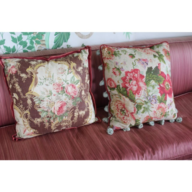 English Traditional Floral Down Pillow For Sale - Image 9 of 10