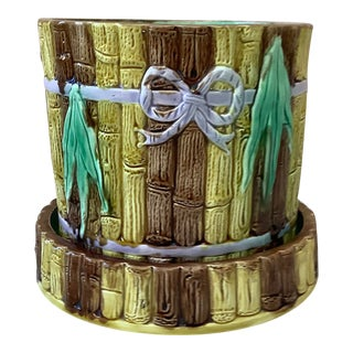 19th Century English Majolica Bamboo Planter With Stand For Sale